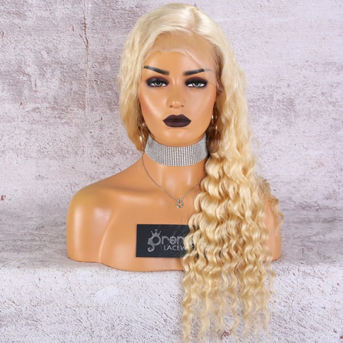 "Deep Wave Blonde Hair 4.5"" Lace Front Wig"