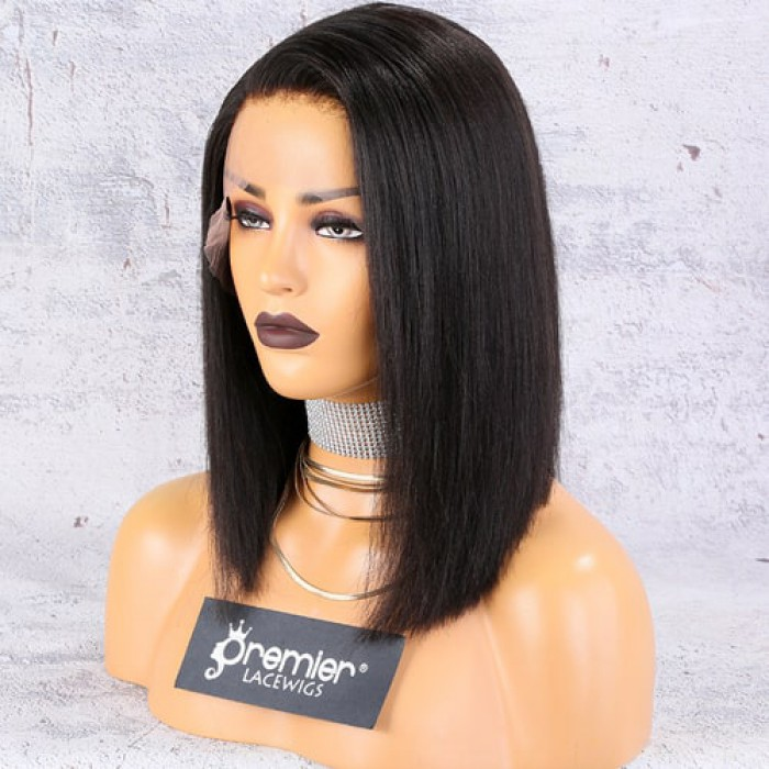 "13""x4.5"" Lace Frontal Wig,C Side Part Yaki Textured Bob"