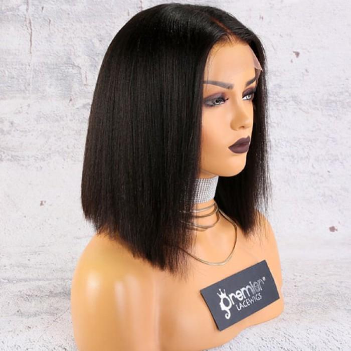 "13""x4.5"" Lace Frontal Wig,Italian Yaki Textured Bob"