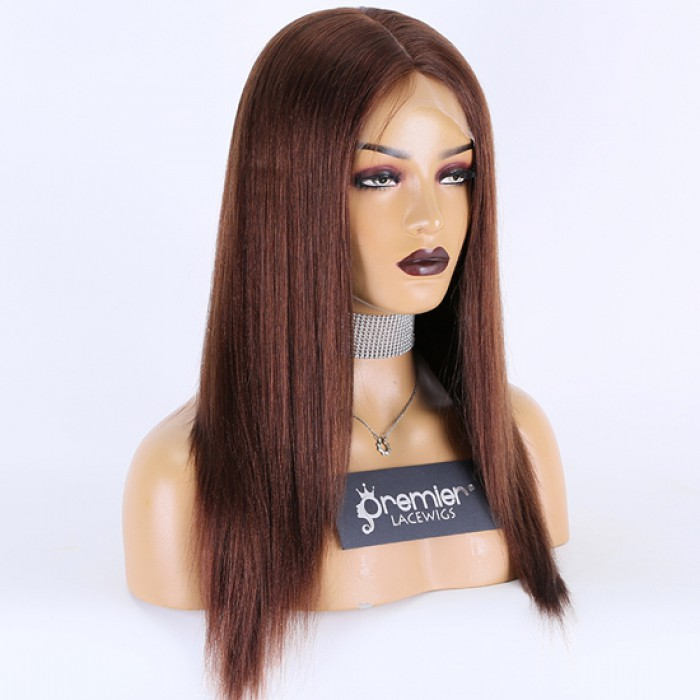 Silk Top Full Lace Wig Indian Remy Hair Light Yaki, 4# Color