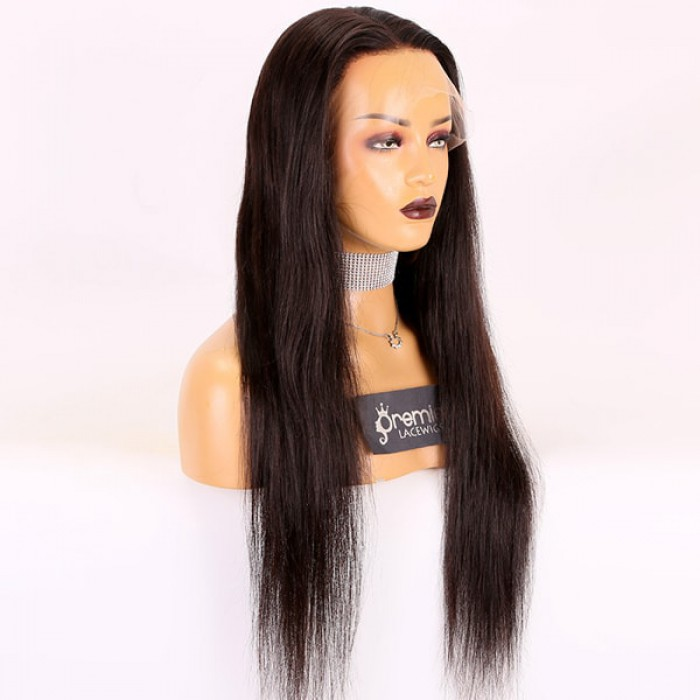 HD full lace wig 24 inches natural black