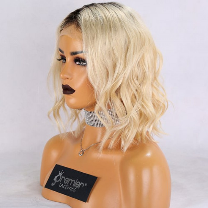 613# Blonde Ombre Color Black Roots,Short Wavy Bob