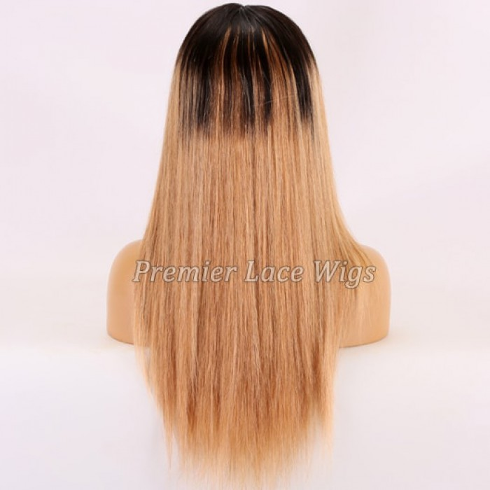 18 inches, 130% Blonde Hair With Dark Roots