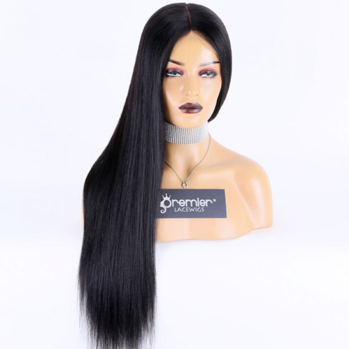 Silk Top Full Lace Wig Indian Remy Hair Light Yaki, 24 inches