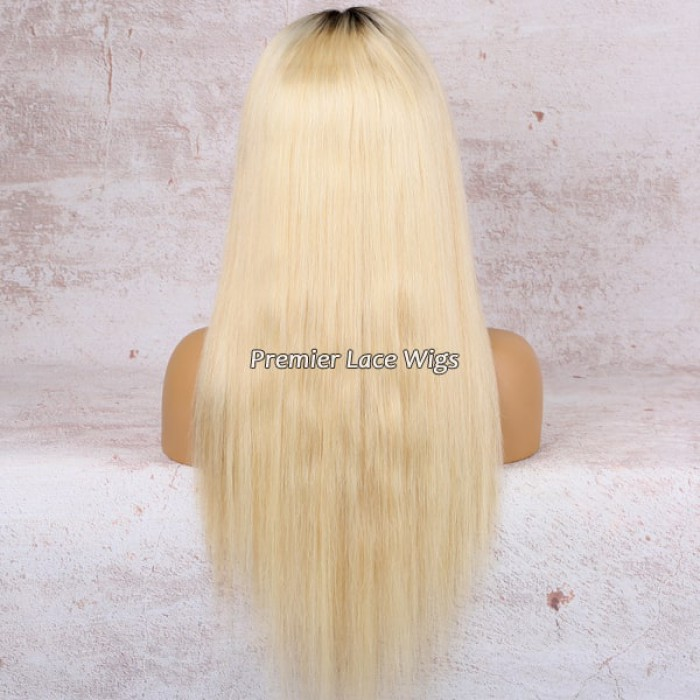 "22 inches,180% extra thick density Dark Roots Blonde Hair 4.5"" Lace Front Wig"