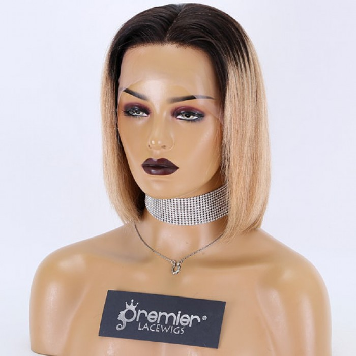 "Blunt Cut Bob Dark Roots Blonde Hair 13""x3"" Lace Frontal Wig"