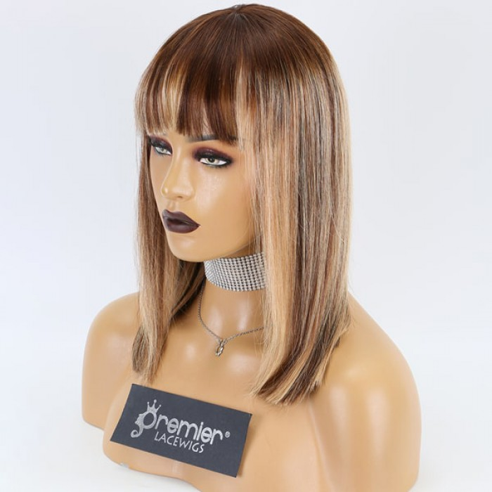 Bangs Style Bob Cut Ombre Blonde Highlights