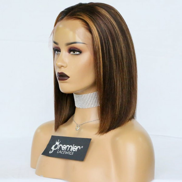Blonde Highlights Relaxed Yaki Hair Blunt Cut Bob