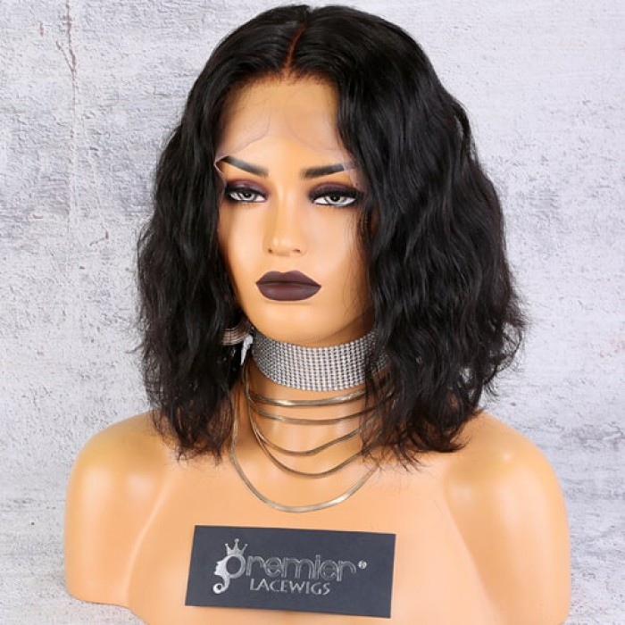 """13""""x6"""" Lace Frontal Wig,Middle Part Wavy Bob Style"""