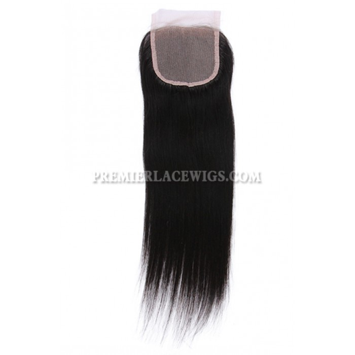 Straight Virgin Indian Human Hair Extension A Lace Closure With 4 Bundles Deal