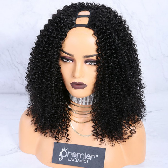 1B color,18 inches,Textured U-Part Wigs Kinky Curly