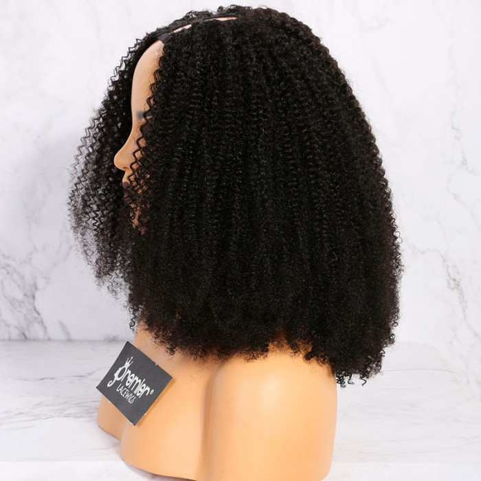 1B 18inches,Textured U-Part Wigs Afro Kinky Curly