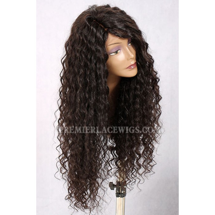 Isabella-24 Inches Long Style Curly Hair Wide Side Part Affordable Silk Base Wig
