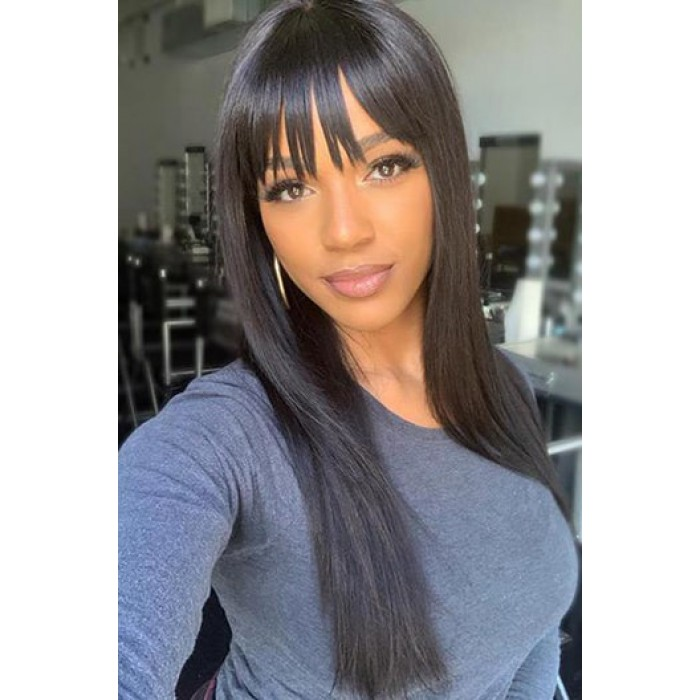 Yaki Straight Hair With Full Bangs