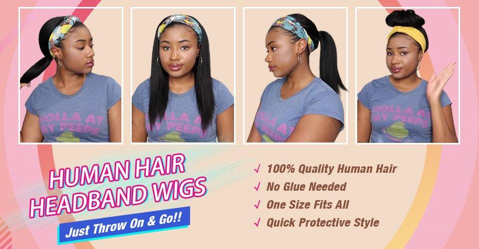 Human hair headband wig