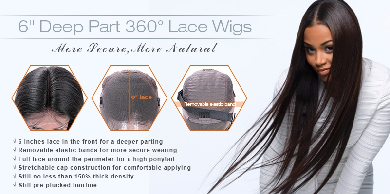 "6"" Deep Part 360° Lace Wigs"