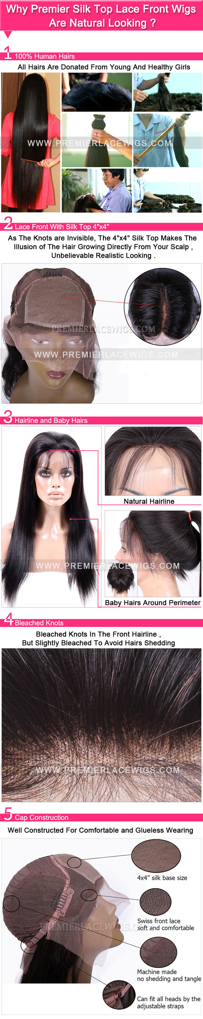 Why Premier Silk Top Lace Front Wigs are natural looking ?